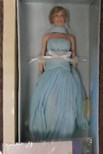 "Franklin Mint Vinyl Princess Diana Doll Light Blue Chiffon Gown LE/1000 COA! 16"""
