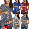 Women Pregnant Maternity Cloth Polka Dot Tunic Tops T-shirt Tops Blouse Loose