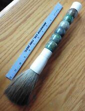 Antique Calligraphy Paint Brush Green Jade & Bovine Bone Calligrapher horse hair