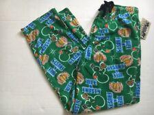NWT Nice & Frosty Beer Mug & Snowman Xmas Green Fleece Pajama Lounge Pants M