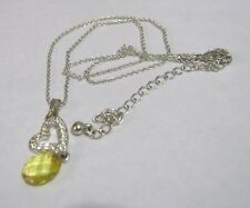 Fantastic silver tone metal chain necklace heart pendant yellow bead