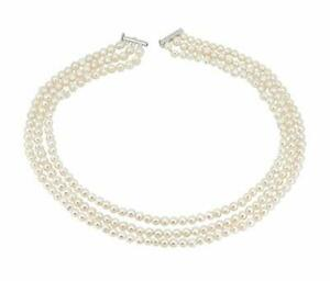 Three Row White 6mm Natural Cultured Freshwater Pearl Necklace