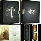 1860 BOOK OF COMMON PRAYER PSALMS OF DAVID LEATHER SILVER PHOTO ILLUS BIBLE GOD
