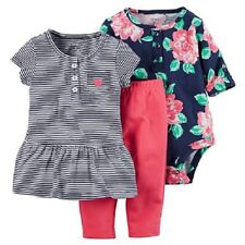 Carter'S Infant Girl Navy Ground Floral Striped 3-Piece,6 Months,Blue
