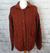 Vintage chunky hand cable aran knit brown wool mix cardigan pockets rustic 14 M