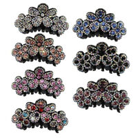 Women Girl Rhinestone Crystal Large Flower Hair Claw Clamp Clip Hair Accessories
