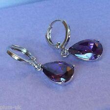 S09 Purple amethyst pear drop silver white gold gf 11mm hoop earring BOXD PlumUK