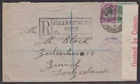 South Africa 1917 cover registered to Switzerland censored locally, ZURICH
