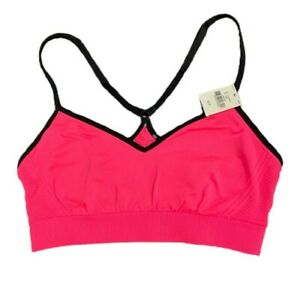 Victorias Secret PINK Sport Yoga Unlined Racerback Bralette Bra Small Coral Pink