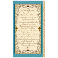Amazing Grace Fabric Panel Religious Church Song Lyrics Blue Cream