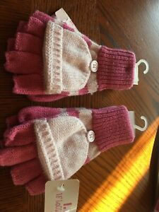 2 Pair Girls Fingerless Gloves With Cape Tagt Can Cover Fingers Bnwt New Item