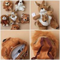 SOFT ANIMAL PURSE WRIST BAG PUPPY LION TEDDY DOG KANGAROO TIGER