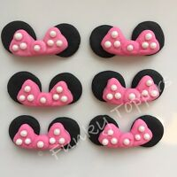 Edible Minnie Mouse Style Cupcake Cake Decorations Bright Pink Glitter Bows Ear