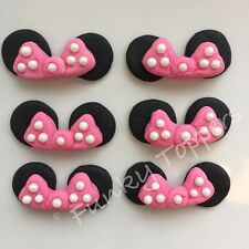 Edible Minnie Mouse Disney Cupcake Cake Decorations Bright Pink Glitter Bows Ear