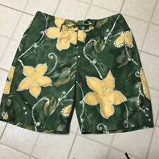 "Men's NAUTICA 34"" Bathing Suit Swim Trunks Green Hawaiian Tiki Mesh Liner Poly"