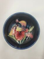Vintage Moorcroft Pottery England Cobalt Blue Orchid Patterned Pin Dish