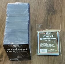 """100 3""""x4"""" Topload Holders Standard BCW Pack and 100 Card Sleeves BCW Brand Pack"""