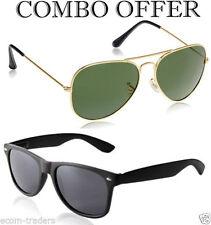 MagJons Combo Golden Green aviator and Black wayfarer sunglasses MJ2223