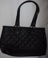 Ladies Quilted Shopper Handbag Purse Large Black Faux Leather Studded NWT