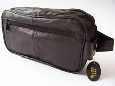 * nuevo para hombre Grande Suave De Cuero Negro Para El Aseo bolsa de lavado de viajes artículos de tocador doble