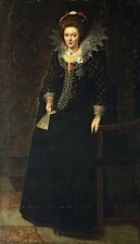 Oil a lady full-length in a black dress with a jewelled brooch holding a fan