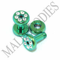 0953 Green Steel Screw-on/fit CZ Flesh Tunnels 10 Gauge 10G Ear Plugs 2.5mm