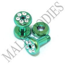 0953 Green Steel Screw-on/fit CZ Flesh Tunnels 10 Gauge 10G Ear Plugs 2.5mm