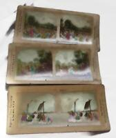 3 Antique Stereoscope Stereoview Cards - Ingersoll Tinted Passion Play Views
