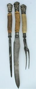 Antique Joseph Rogers & Sons 3 pc Carving Set Cutlers to Her Majesty 1882-? V-R