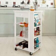 SoBuy Wood Kitchen Serving Trolley Cart Cornor Shelf White,FKW12-W, White,UK