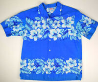 Vintage Kalena Hawaiian Shirt L/XL 70s Blue Hawaii Kurt Cobain Aloha Grunge
