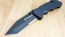 Smith & Wesson Border Guard Ii Black G10 Serrated Large Folding Knife Swbg6Ts