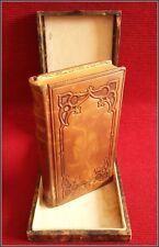 (1910) BIBLE Fine Binding Embossed Leather PROTECTIVE BOX Christian Catholic Art
