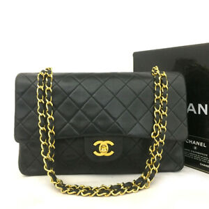 CHANEL Double Flap 25 Quilted CC Logo Lambskin w/Chain Shoulder Bag Black/61961