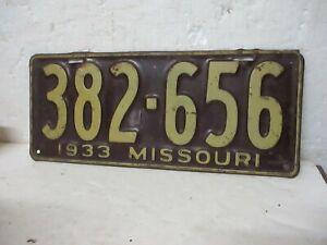 VINTAGE 1933 MISSOURI LICENSE PLATE (382-656)