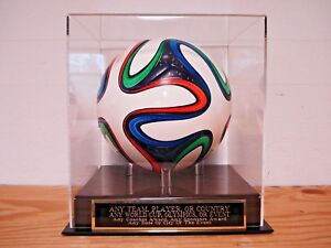 Custom Engraved Name Plate And A Soccer Ball Display Case For Any Player Or Team