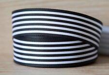 2M X 25mm Grosgrain Ribbon Craft DIY Cake Decoration Hair Bows - Black Stripes