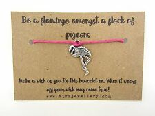 Be A Flamingo Amongst A Flock of Pigeons Message Card Wish Bracelet Gift