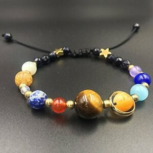 Universe Solar System Galaxy Eight Planets Stone Beads Braided Bracelet Gift *