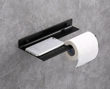 Aluminium Toilet Paper Roll Holder Wall Cover Bathroom With Phone Shelf Black