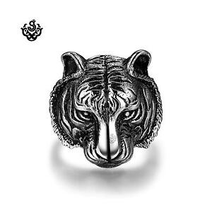Silver bikies ring stainless steel tiger jaguar band soft gothic