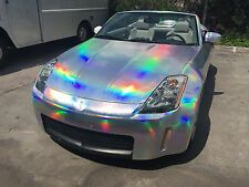 Silver Holographic Laser Chrome Iridescent Vinyl Wrap Car Film Air Bubble Free