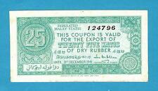 Federated Malaya States Rubber Export Coupon 25 Katis 31st Dec 1941