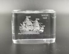 ORREFORS CRYSTAL PAPERWEIGHT WASA 1628 SAILING SHIP LABELS ATTACHED