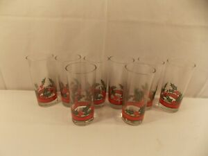 "Set of 8 Christmas  Holly & Berries Iced Tea Glasses 6 1/2"" tall"