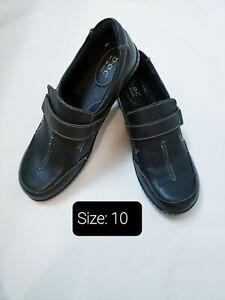 BOC Born Concept Burnett Black Leather Clogs slip Resistant Sz 10 Women's Shoes