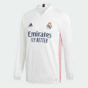 NWT $100 Adidas Real Madrid 20-21 Home Long Sleeve Jersey White Pink FQ7473 Sz S