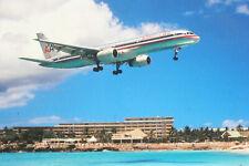 AK Airliner Postcard FLUGHAFEN ST. MAARTEN American B.757