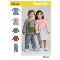 SIMPLICITY SEWING PATTERN S9023 TODDLERS' DRESSES, TOP & TROUSERS