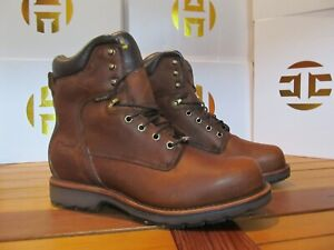 "Chippewa 8"" Brown Tan Lace Up LEATHER Work Boot WATERPROOF 12EE 25225 Made USA"